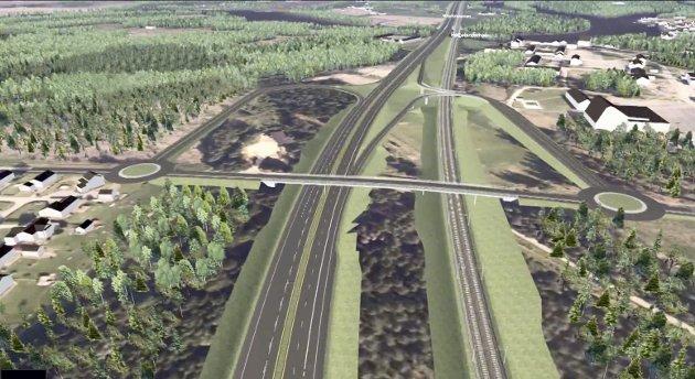 Veiløsning: Slik kan løsningen for vei og bane bli forbi Helgelandmoen.illustrasjon: bane nor