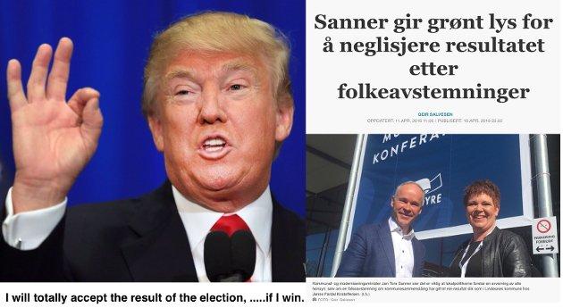 Amerikansk TV og faksimile fra Aftenposten viser hhv. Donald Trump og Jan Tore Sanner, begge i kjent stil.