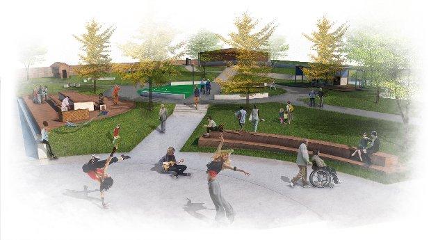 Skisse av Folkehelsepark på Tronstutomta