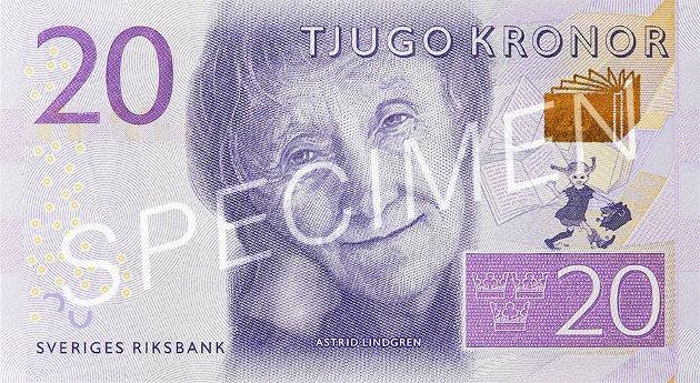 20 kroner: Astrid Lindgren.