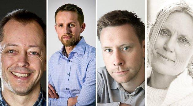 AMEDIA: F.v  René Svendsen, sjefredaktør i Fredriksstad Blad, Helge Nitteberg, sjefredaktør i Nordlys,  Markus Rask Jensen, konst. sjefredaktør i Avisa Nordland og  Guri Jortveit, sjefredaktør i Arbeidets Rett.