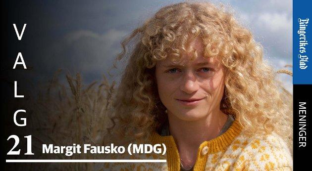 FØREBILETE: – MDG vil at Noreg skal bli eit førebilete på både klima og natur for resten av verden, skriver Margit Fausko (MDG).