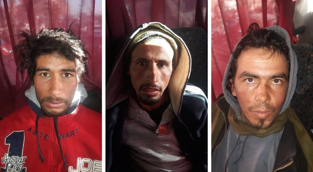 DØMT: De tre hovedmennene ble dømt til døden. Disse bildene ble distribuert av det marokkanske statspolitiet BCIJ etter at trioen ble pågrepet om bord i en buss, bare få dager etter de brutale drapene i Atlasfjellene.