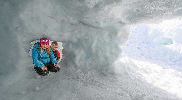 Leonora Olsen (8) og Felix Leander Olsen (6) i Gabriel Jensens veg på Storforshei har laget ganger og snøhuler i alle snødungene på tomta.