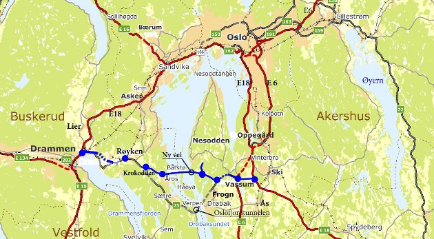 Ny Rv 23: Ove Solheim, pensjonert sjefingeniør i Statens vegvesen, har sendt med et kartutsnitt hvor den nye veien er plottet inn.