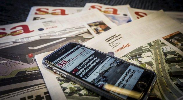 JUBILEUM: Sarpsborg Arbeiderblad er 90 år i dag. I løpet av neste år vil SA har    flere digitale abonnenter enn avisabonnenter. Vår viktigste salgsvare har vært den samme i alle år: Lokale nyheter. Foto: Vetle Granath Magelssen
