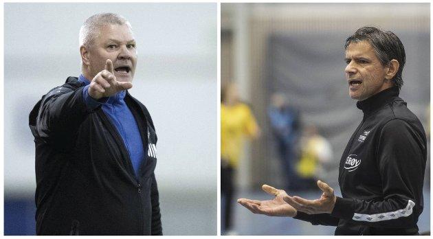 Øygarden-trener Mons Ivar Mjelde (t.v.) og Tertnes-trener Tore Johannessen (t.h.) følte begge seg urettferdig behandlet av sine forbund da de ledet lagene sine i kamp onsdag kveld.