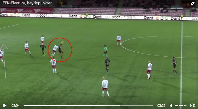 2-0-målet:  Et femmeterutspill nådde midten av FFKs halvdel og Thomas Rekdal tapte hodeduellen som oppstod. Magnus Solum utnyttet bakrommet og snek seg inn bak Tim Nilsen, og doblet FFKs problemer.