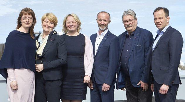 EKSEMPEL TIL ETTERFØLGELse: Skribenten påpeker at kontallasjonen Ap, SV, Sp og KrF samarbeider i Nordland. Her representert ved fykesrådet. Fra venstre Ingelin Noresjø (KrF), Hild-Marit Olsen (Ap),  Mona Fagerås (SV), Svein Eggesvik (Sp), Knut Petter Torgersen (Ap) og Tomas Norvoll (Ap).