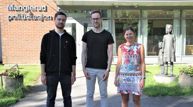 Hanne Eldby (th) sammen med BU-representantene Vegard Kjendsli (SV) i Nordstrand og Erlend Tynning Larsen (SV) i Søndre Nordstrand.