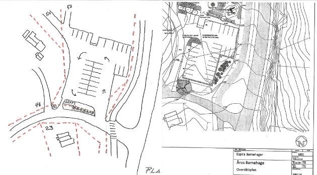 SKISSE: Erik Hagfors har laget en egen skisse som viser alternativ adkomst til barnehagen.