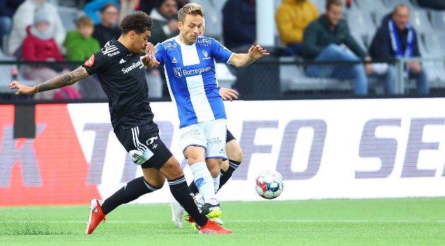 DEBUTANT: Mikkel Maigaard debuterte fra start for Sarpsborg 08 mot Rosenborg. Dansken operererte som en av tre angrepsspillere.