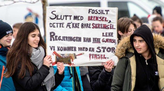 Streik for miljøet !  Her er streiketoget fra Ås ungdomskole på marsj gjennom sentrum og inn i borggården ved Ås Rådhus..