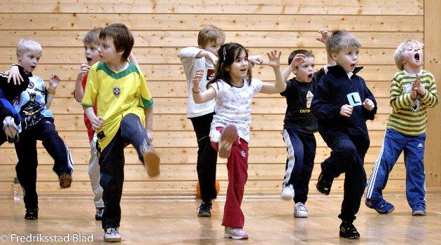 Råde Idrettslag med samarbeidspartnere arrangerer åpen dag for barn og unge i Rådehallen: Her er det noen unge som prøver seg på kampsport, noe som var ett av mange tilbud for barna denne kvelden. Foto: Erik Hagen, 25.01.2006