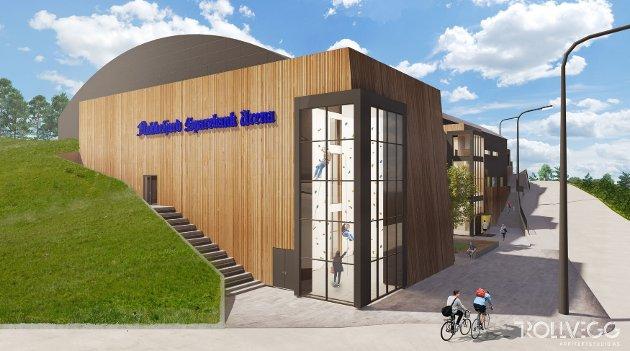 FLERBRUKSHALLEN: Slik blir den nye flerbrukshallen, sett fra inngangen med klatrehallen.