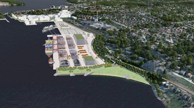 STORE PLANER: Nye Moss havn er skissert som en ny bydel.