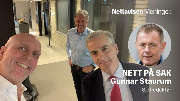 VENNLIG: Det var en vennskapelig tone etter podcasten der Ole Eikeland (til venstre) og Nettavisens redaktør Gunnar Stavrum intervjuet Ap-partileder Jonas Gahr Støre.