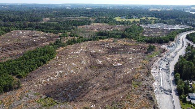 Dronefoto fra det som var Holt skog, en tragisk utvikling i Frogn