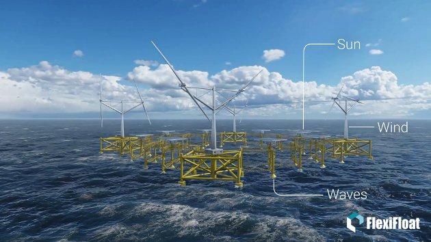 FULL SKALA: Slik ser Flexifloat ut i komplett utgave. Her skal både solenergi, havvind og bølgekraft utnyttes.