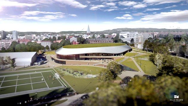 Loe Betongelementer leverer bærekonstruksjonen i betong og stål Nye Jordal Amfi i Oslo. Tegning: Hille Melby arkitekter.