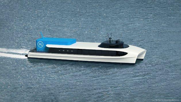 Kinn AP tek i dette innlegget til orde for gode båtruter som er meir miljøvennlege enn i dag. Dette er Aero Hydrogen 42, som er Brødrene Aa sitt forslag til korleis ein nullutsleppsbåt kan bli sjåande ut. Den er utvikla for å gå den 95 nautiske mil lange ruta Trondheim-Kristiansund.
