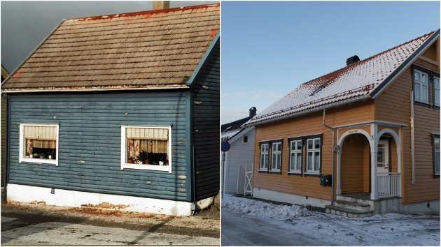 FØR OG NO: Til venstre korleis huset såg ut i 2001, då Jonny Grotle overtok, og til høgre korleis det ser ut i dag.