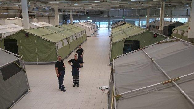 Færre kommer: Det er romslig på mottaket i Råde. Ulf Leirstein mener det viser at de borgerliges asylforlik har effekt. Bilde fra før mottaket åpnet. Arkivfoto: Morten Günther