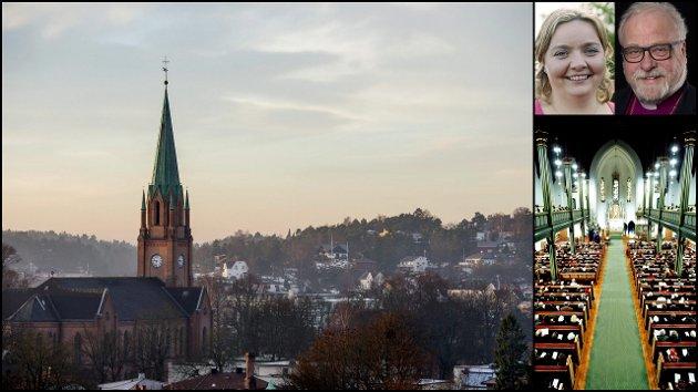 SKILLER LAG: Biskop Atle Sommerfeldt og leder av Borg bispedømmeråd Karin Elin Berg redegjør for hva som blir annerledes nå som Den norske  kirke ikke lenger er statskirke.