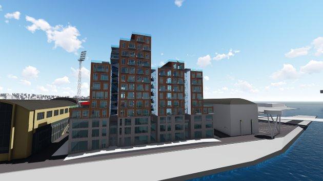 Blokkene sett fra bysiden: På denne modellen som studentene har utarbeidet i samarbeid med Værste AS og SG Arkitekter er det tre næringsetasjer og ti etasjer med boliger. Det kan bli inntil 13 boligetasjer, opplyser Torfinn Hagen.