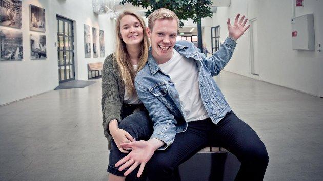Når flere på DAB: Vida Lill Berge fra Hallo P3 og Martin Holmen fra MP3 Morgen holder stemningen oppe backstage.