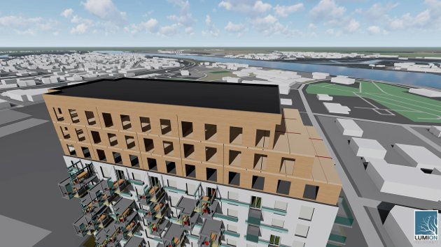 Tilpasset dagens bygningsstruktur: En skisse fra studentarbeidet for B-blokken. (Illustrasjon: Fagskolen i Østfold)