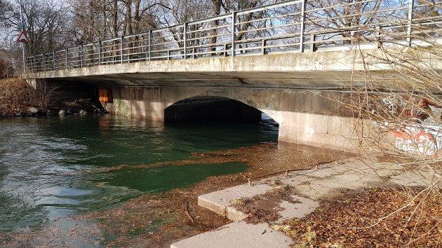 GRUMS: Kanalen har tatt med seg en del skogsavfall med seg i vannet.  (Innsendt av Øivind Jørgensen)