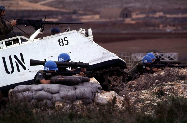 Libanon 1988. Norske FN-soldater i Libanon er på vakt. (Illustrasjonsfoto)