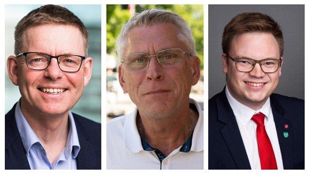 Jon Kristiansen, regiondirektør NHO Innlandet, Iver Erling Støen, regionleder LO Innlandet og Even Aleksander Hagen, fylkesordfører i Innlandet.
