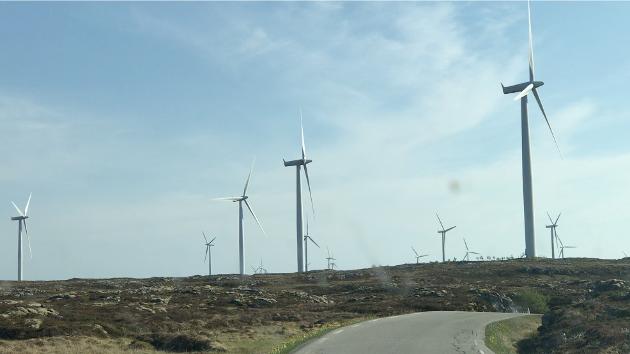 Bilde av noen av de 68 vindturbinene på Smøla, Norges første vindpark, rager maks 110,1 meter medregnet turbinbladene. De nye monsterturbinene som bygges rundt om i Norge nå rager opp mot 250 meter over bakken