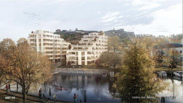 FRA STRANDA: Slik ser Østby Eiendom for seg at Grønland Brygge blir fra Nordsiden.