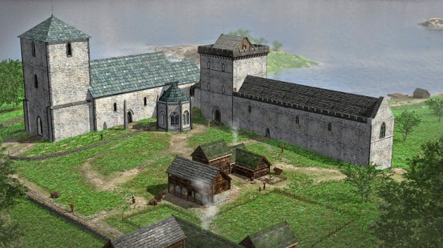 IMPONERENDE:Slik kan kongsgården ha sett ut sett fra sør.