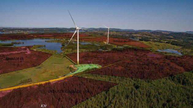 Visualiseringen viser et nesten ferdig vindkraftverk og ferdigregulerte industriarealer i Haugaland Næringsingspark i Tysvær kommune.