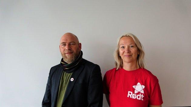 Førstekandidat Geir Jørgensen (Hadsel) og andrekandidat Hanne Benedikte Wiig (Alstahaug) for Rødt Nordland i stortingsvalget.