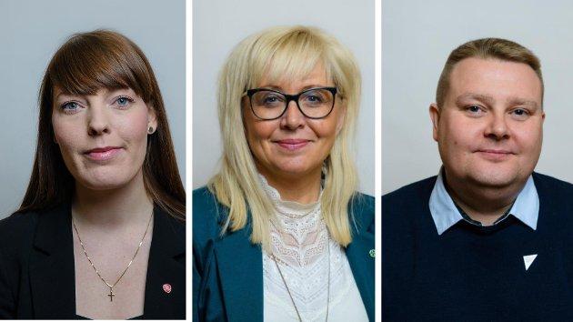 Mari Martinsen Siljebråten, gruppeleder Ap, Irene Lange Nordahl, gruppeleder Sp, Tommy Berg, gruppeleder SV