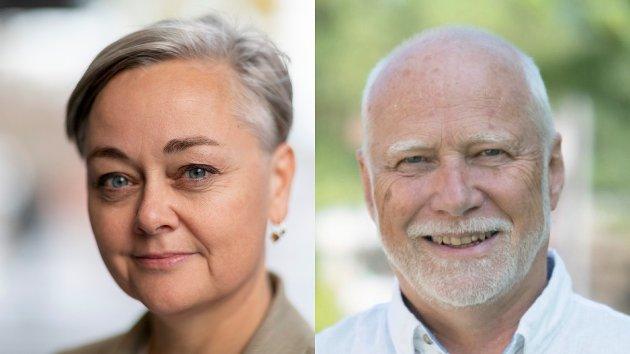 Tove Hofstad (V), gruppeleder i Lier og fylkestingsrepresentant i Viken og Ole Andreas Lilloe-Olsen, gruppeleder for Venstre i Viken