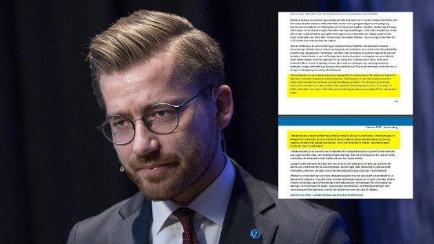 Klimaminister Sveinung Rotevatn (V) vil gjerne ha dine tilbakemeldinger på den nesten 1200 sider lange rapporten. Å forstå hva som står der er ikke lett om du ikke snakker flytende byråkratisk.