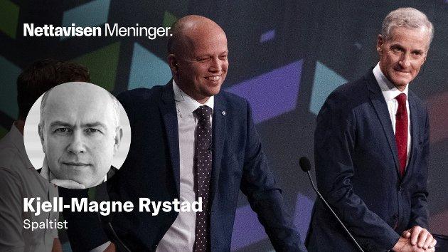 Kommer partilederne  Jonas Gahr Støre (Ap) og Trygve Slagsvold Vedum (Sp) til å danne en topartiregjering etter valget til høsten?