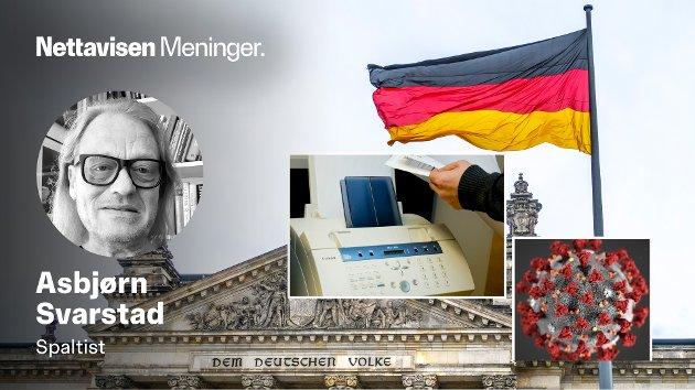 DIGITALE ANALFABETER: - Allerede for ti måneder siden måtte tyske politikere på alle plan vedgå at landets totalt 375 «helsekontorer» i løpet av de 20 siste årene er blitt spart sønder og sammen.Det manglet folk, kompetanse, computere og programvare. Faksen var det viktigste middel for kommunikasjon med omverdenen, skriver Asbjørn Svarstad om tingenes digtale tilstand i Tyskland.