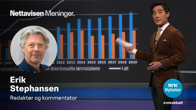 Fredrik Solvang kunne vise fram en særdeles interessant statistikk på NRK Debatten torsdag. Skjermdump NRK