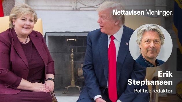 TO VERDENER: Statsminister Erna Solberg fikk masse skryt av Donald Trump da hun møtte ham i Det hvite hus i 2018. Han skulle fått noen råd om hvordan gi fra seg makt.