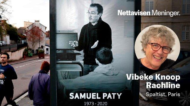 DØDE FOR YTRINGSFRIHETEN: Den franske læreren Samuel Paty fikk i oktober 2020 strupen skåret over av en tsjetsjensk terrorist som sterkt mislikte at han viste frem Mohammed-tegninger i undervisningsøyemed. Her minnes han på en reklameplakat i utkanten av Paris.