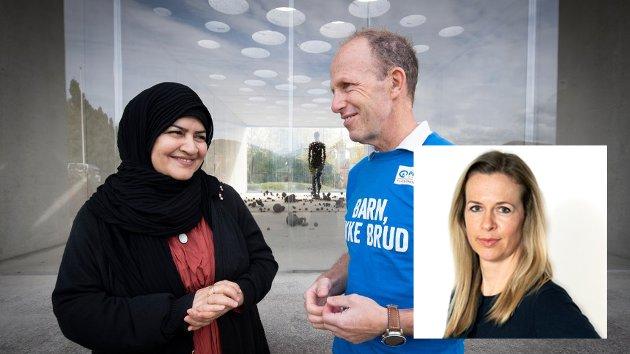 BARNEBRUD:  Maryam Jamali ble gift da hun var 11 år, og gravid ett år senere. De fem barna har vokst opp i Lom og Lillehammer. Hennes historie bør få oss til å gi penger til årets TV-aksjon her avbildet med fylkesaksjonsleder Innlandet i Plan, Martin Bodd.