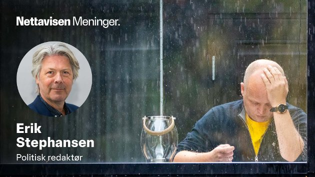TUNGE DAGER: Trygve Slagsvold Vedum en regntung dag i Hurdal. Det kan komme flere slike dager framover, etter hvert som finansministeren må si nei til gode tiltak i landet som vi alle er så glade i.