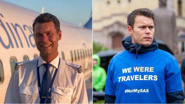 FØR OG ETTER: Debattforfatter Anders Eckermann Eikeland som pilot i SAS i 2019. På det andre bildet, fra 2021,  står han på demonstrasjon sammen med 2200 andre oppsagte SAS-ansatte.